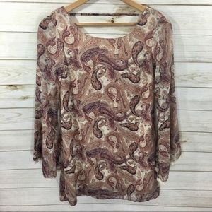 Xhilaration Sheer With Liner Paisley Print Blouse